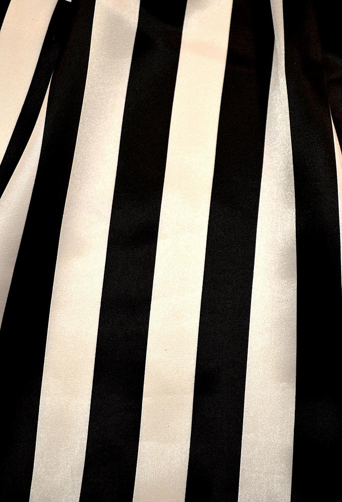 "STP/CHA-1"" / BLACK/WHITE / 100% Polyester Charmeuse Stripe 1"""