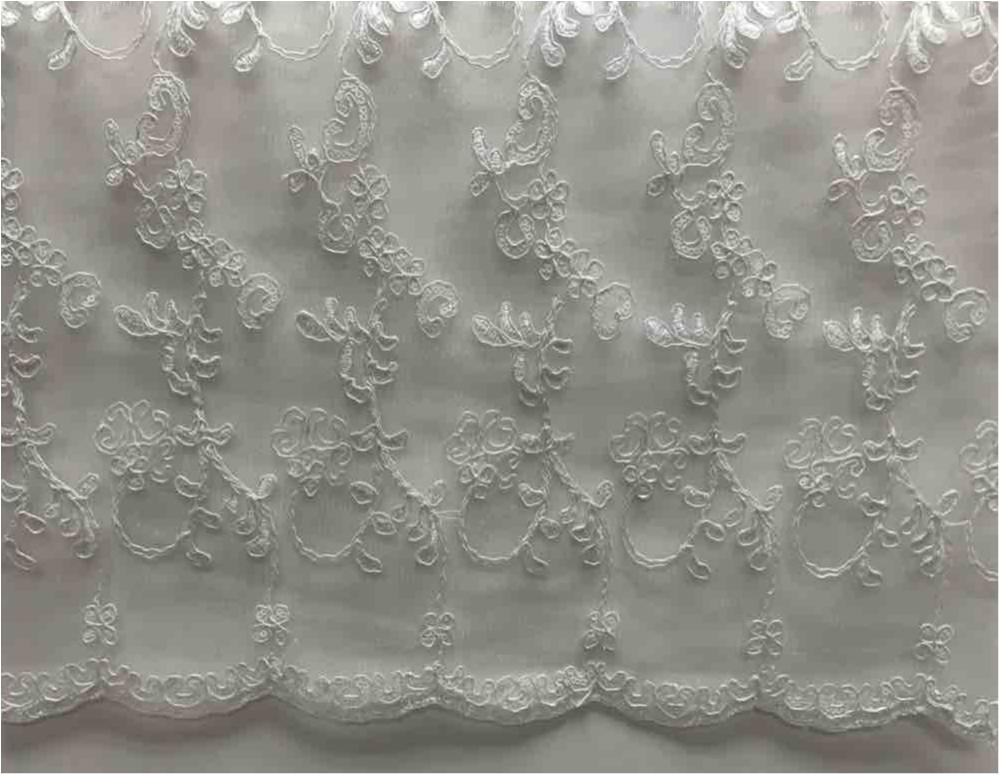 LACE EMB SEQUIN / OFF/WHITE / 100% Polyester Mesh Embroidery With Sequins