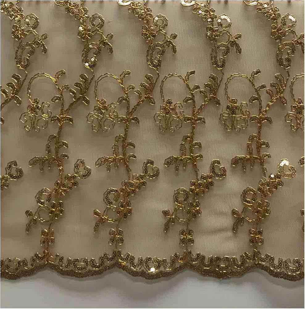 LACE EMB SEQUIN / GOLD/D / 100% Polyester Mesh Embroidery With Sequins
