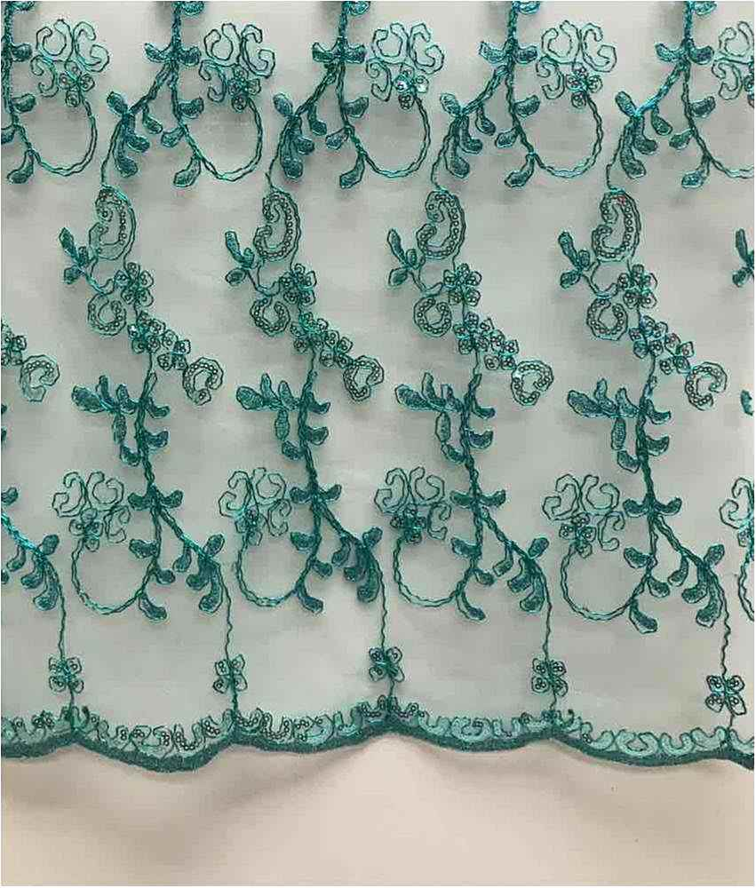 LACE EMB SEQUIN / JADE / 100% Polyester Mesh Embroidery With Sequins