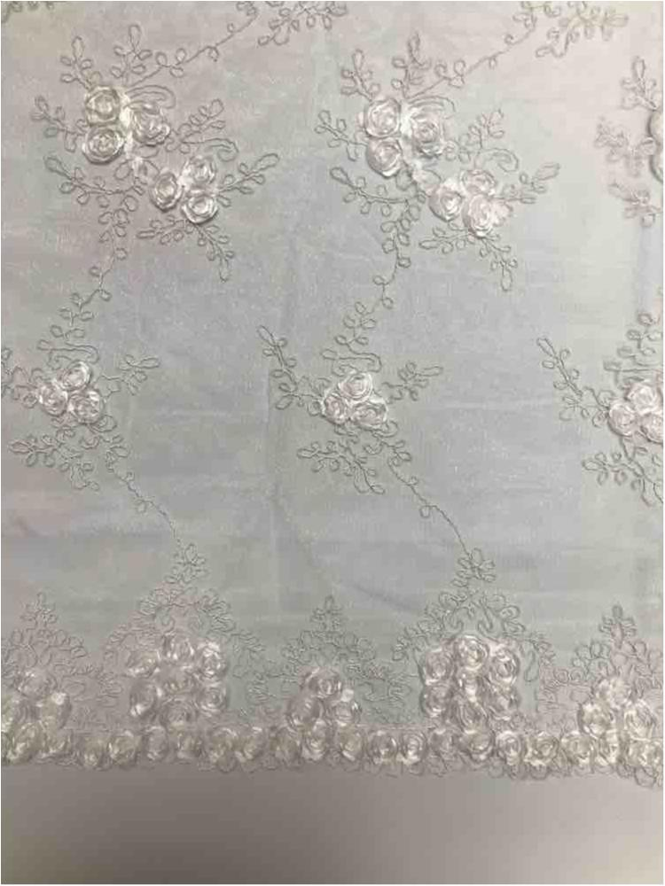 EMB MESH 025 / WHITE / 100% Polyester Shiny Mesh With Small Roses/W Scall