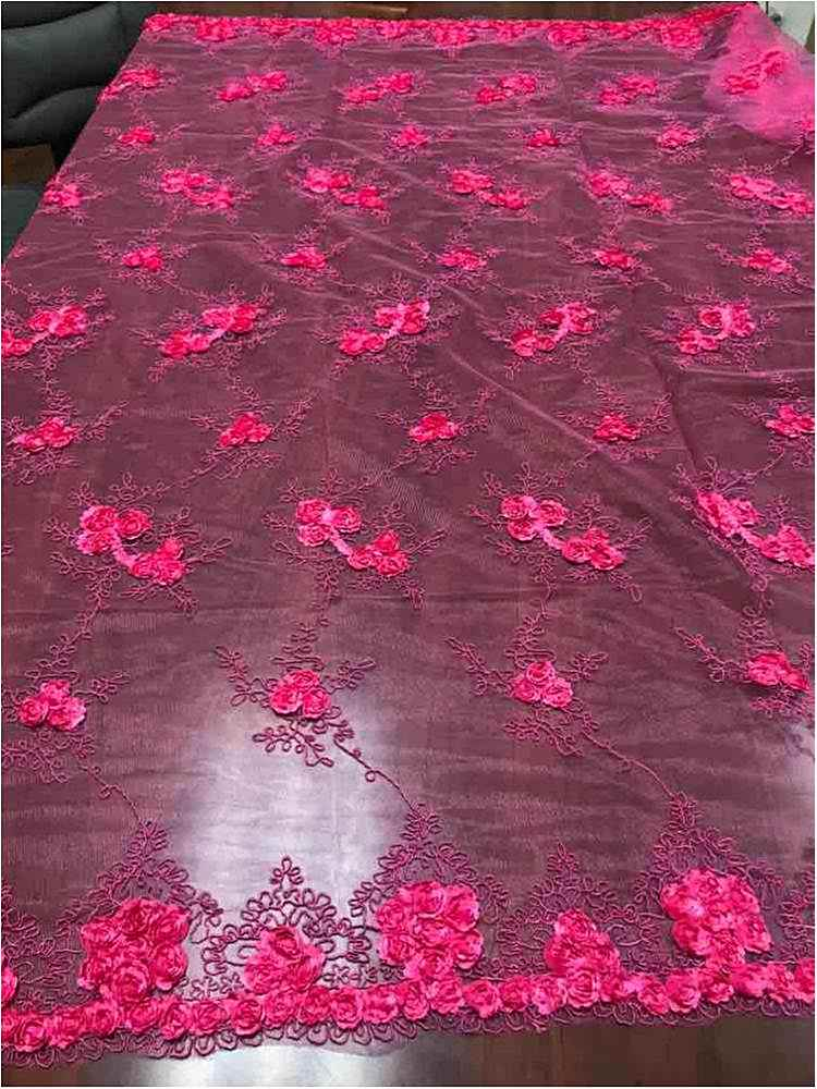 EMB MESH 025 / CORAL / 100% Polyester Shiny Mesh With Small Roses/W Scall