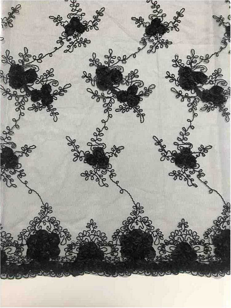 EMB MESH 025 / BLACK / 100% Polyester Shiny Mesh With Small Roses/W Scall