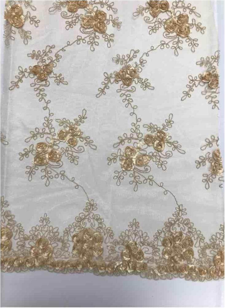 EMB MESH 025 / KHAKI / 100% Polyester Shiny Mesh With Small Roses/W Scall