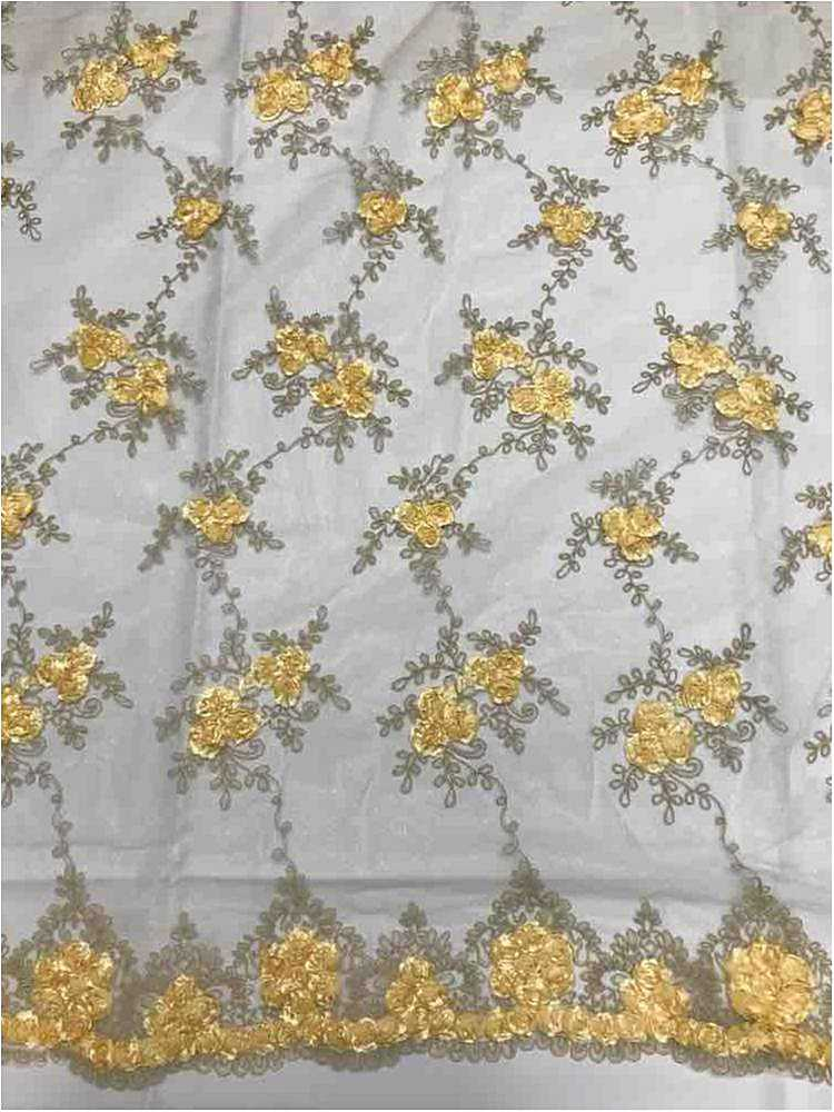 EMB MESH 025 / GOLD LIGHT 02 / 100% Polyester Shiny Mesh With Small Roses/W Scall
