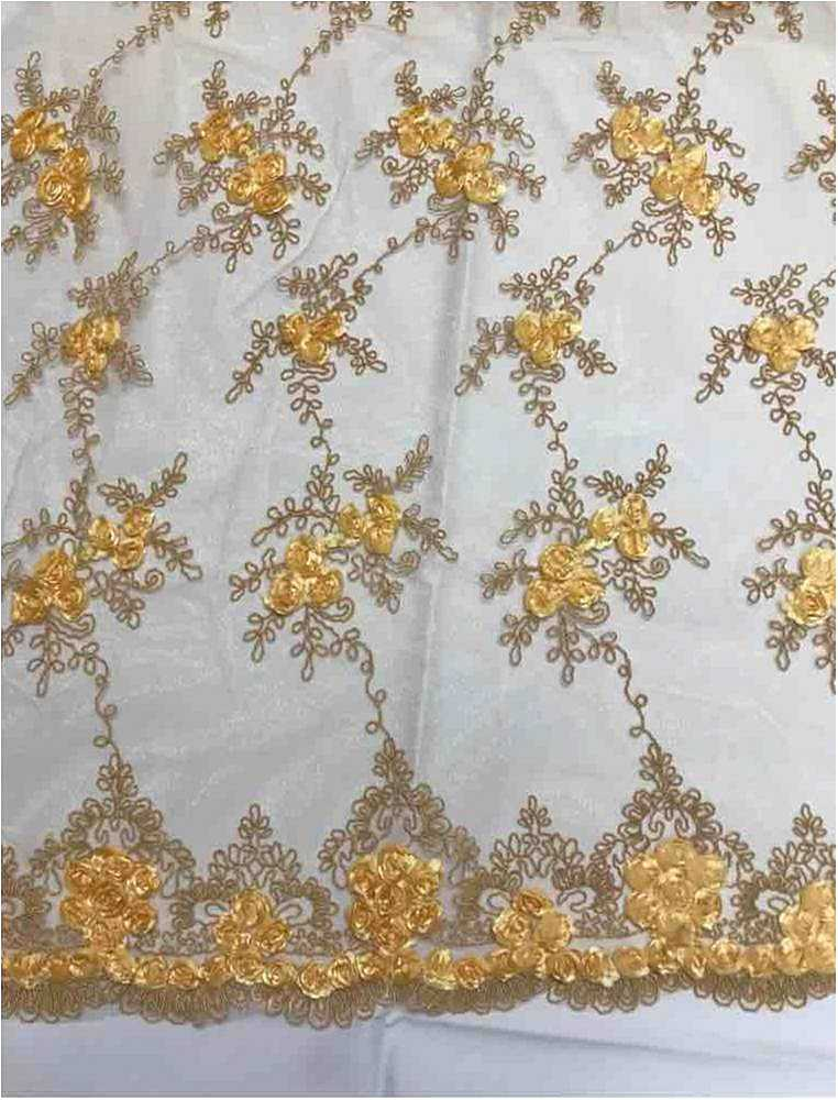 EMB MESH 025 / GOLD 03 / 100% Polyester Shiny Mesh With Small Roses/W Scall