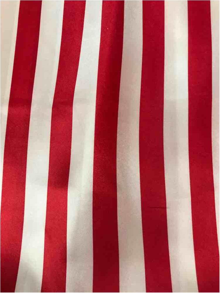 "STP/CHA-1"" / WHITE/RED / 100% Polyester Charmeuse Stripe 1"""