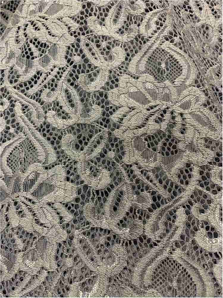 N/S LACE / SILVER / 90% NYLON 10% SPANDEX LACE W/ SCALLOPED