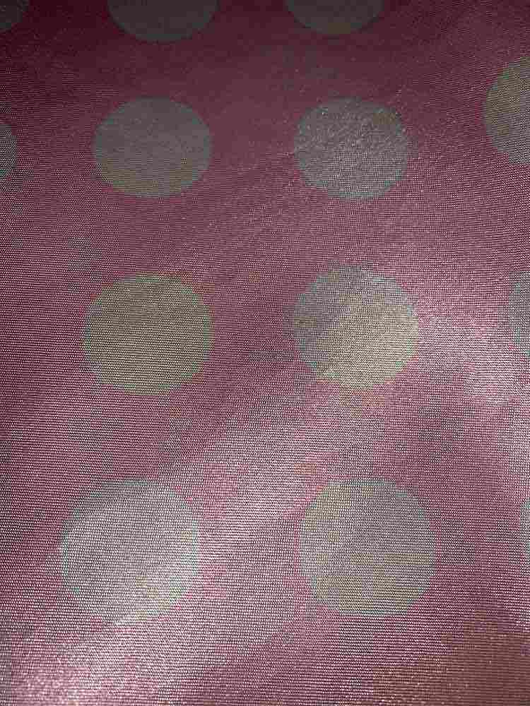 PK/CHA MED / PINK/WHITE / 100% Polyester Charmeuse Polka Dot Med Print