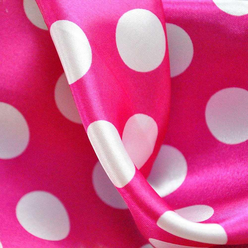 <h2>PK/CHA MED</h2> / FUSCHIA / WHITE                 / 100% Polyester Charmeuse Polka Dot Med Print