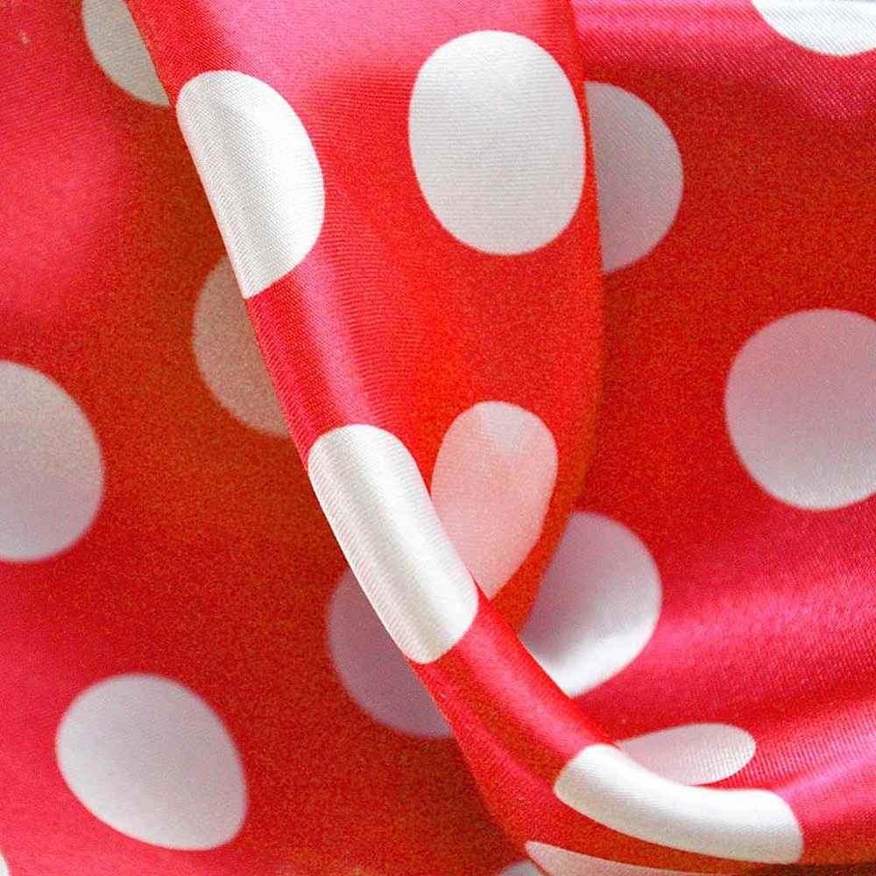 PK/CHA MED / RED/WHITE / 100% Polyester Charmeuse Polka Dot Med Print