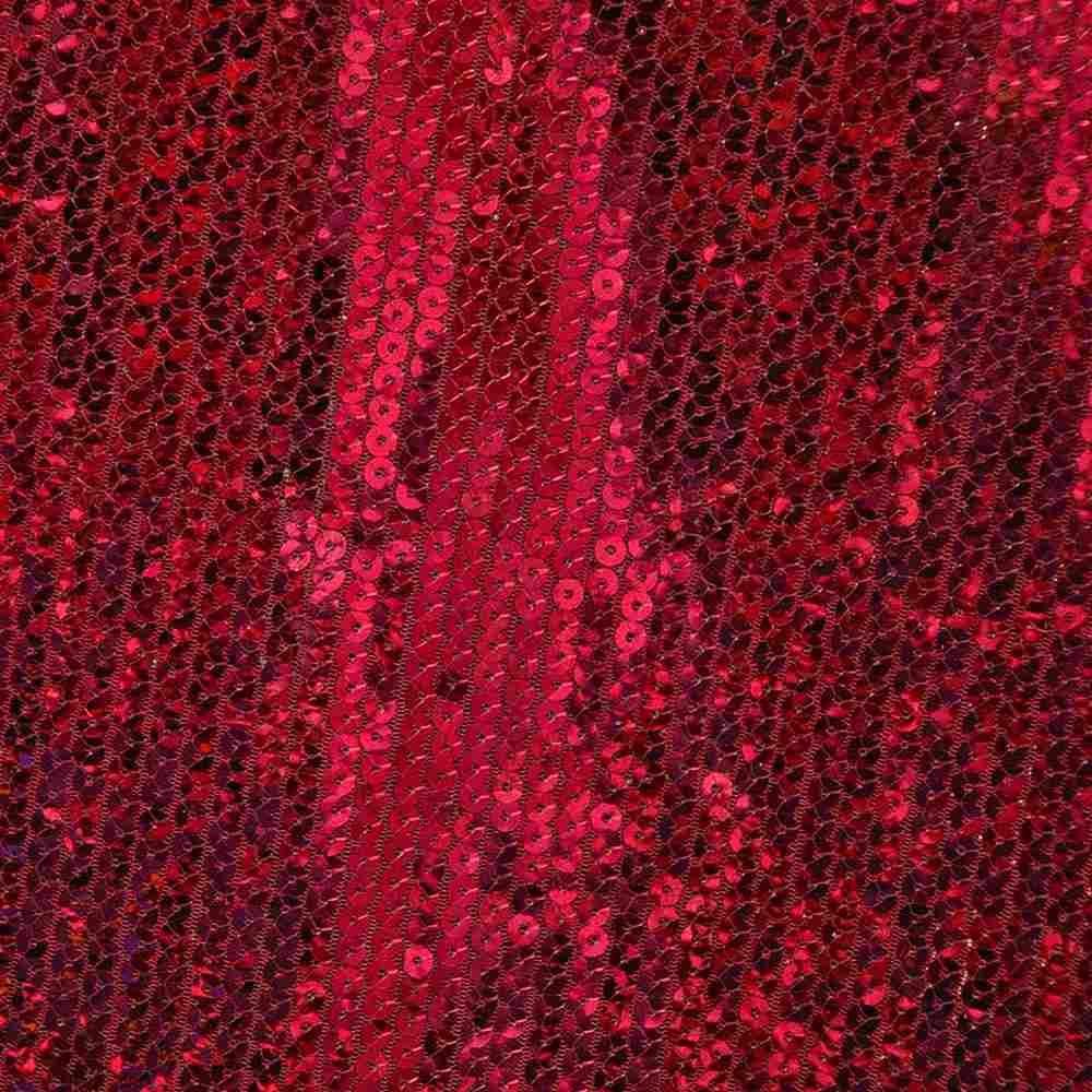 SEQUINS EMB / RED / POLY MESH WITH TRANSPANGLE 5MM