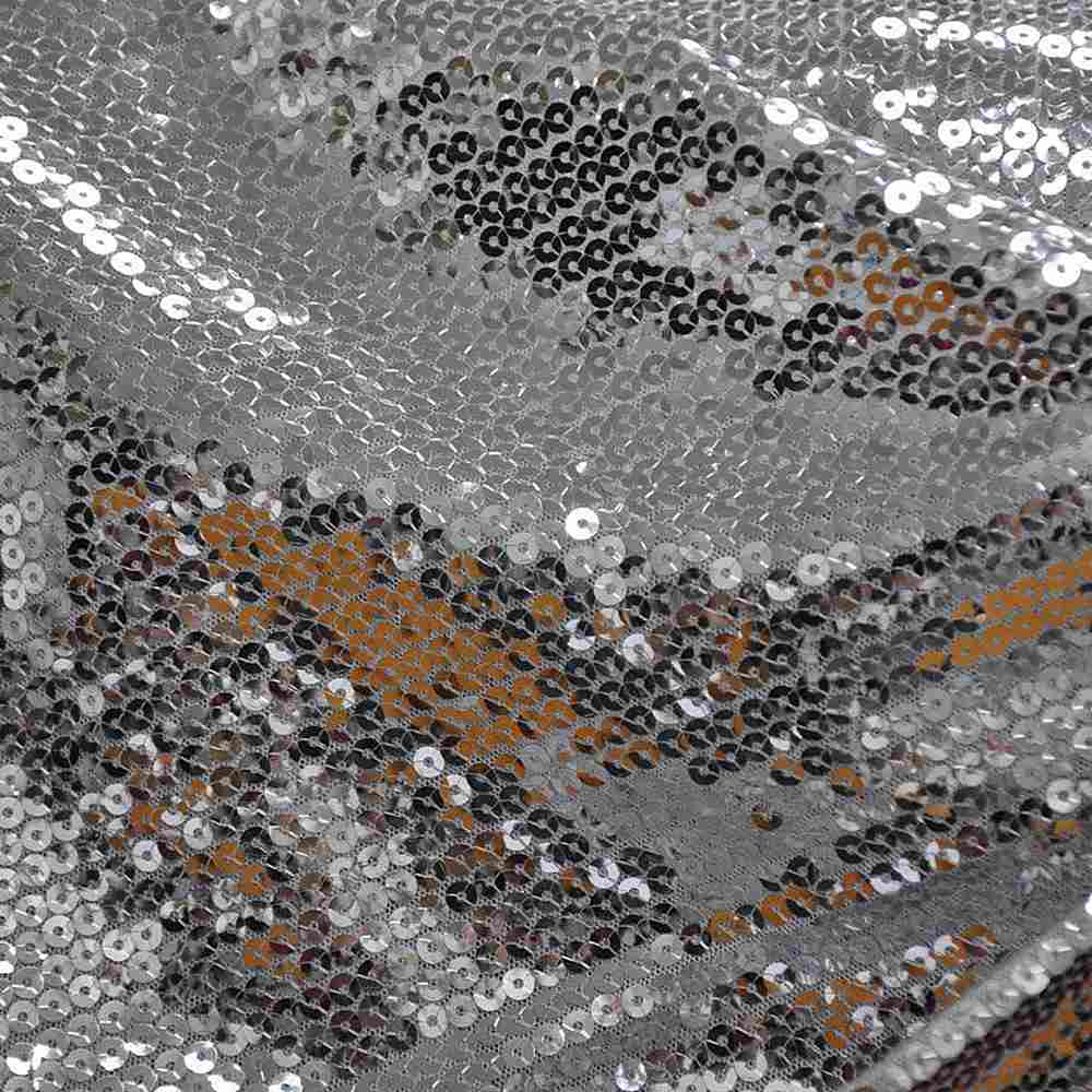 SEQUINS EMB / SILVER/SILVER / POLY MESH WITH TRANSPANGLE 5MM
