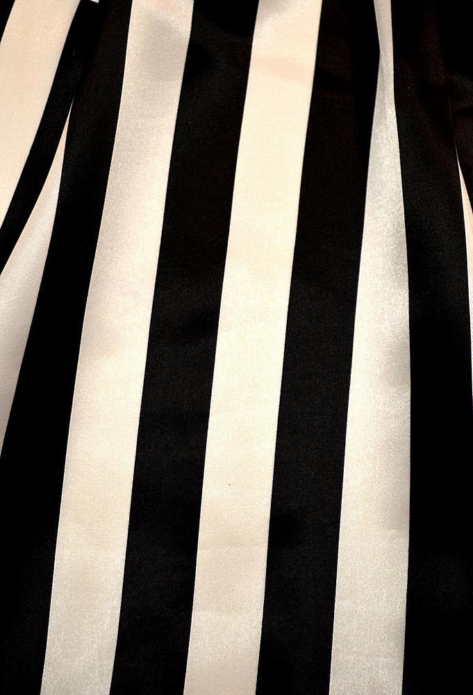 "STP/CHA-1"" / BLACK/WHITE / 100% Polyester Charmeuse Stripe 1"""