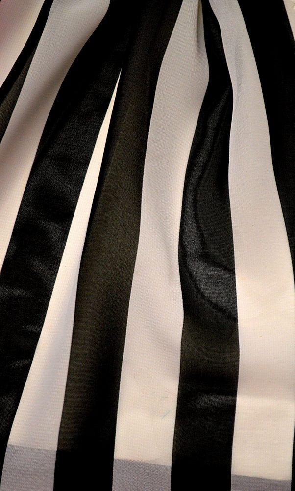 <h2>STP/HI-CHS 1&quot;</h2> / BLACK/WHITE                 / 100% Poly Hi-Multi Chiffon Medium Stripe Print