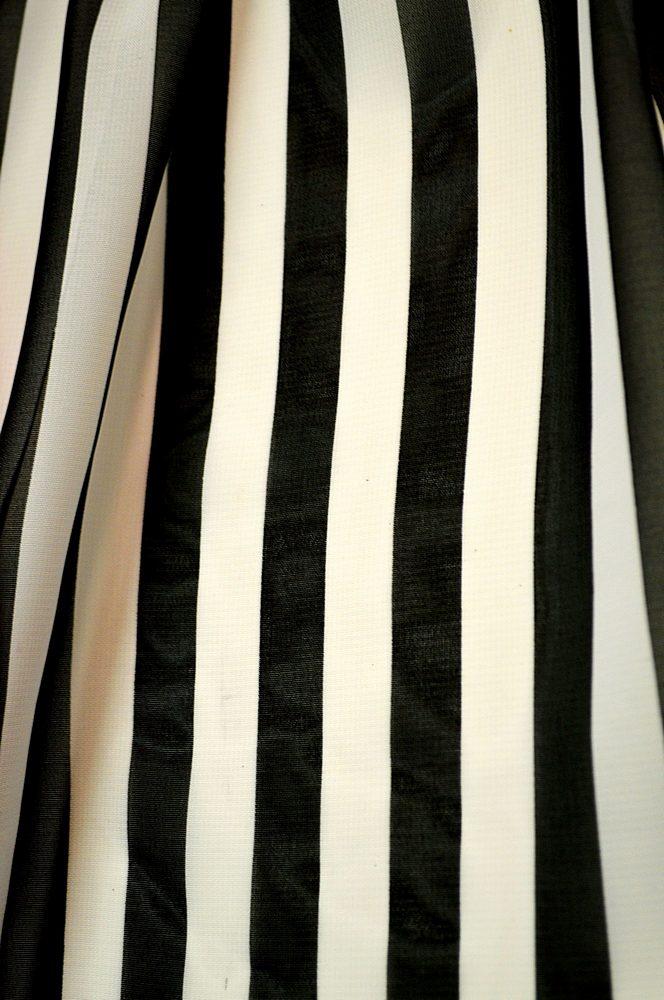 "STP/HI-CHS 1/2"" / BLACK/WHITE / 100% Poly Hi-Multi Chiffon Medium Strip Print 58/60"