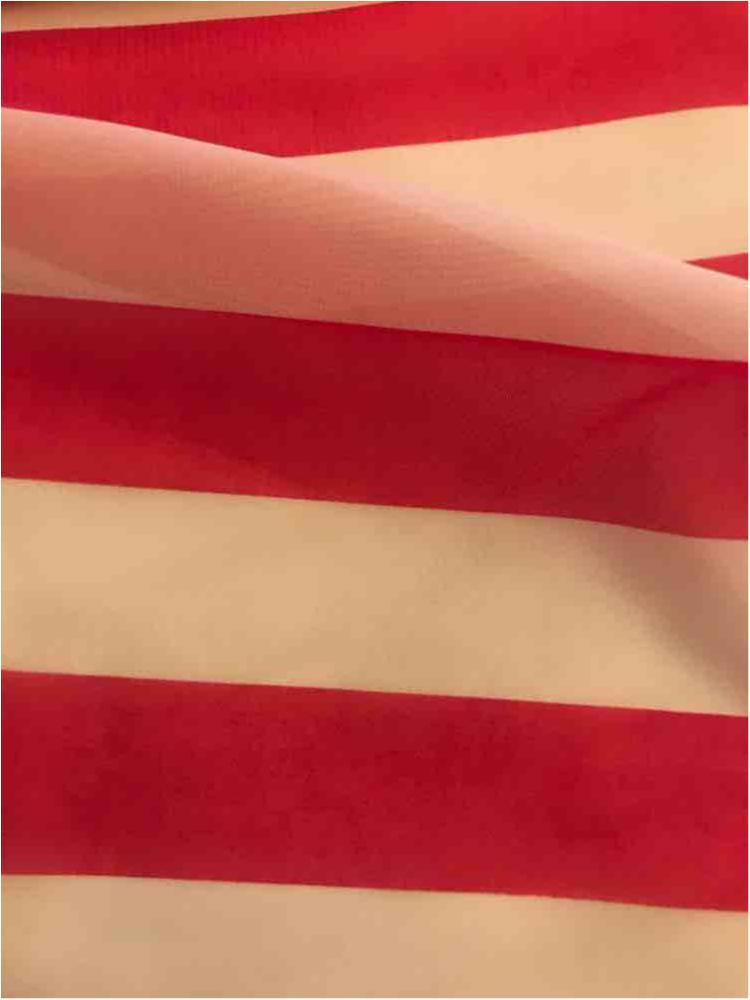 "STP/HI-CHS 1"" / FUCHSIA/WHITE / 100% Poly Hi-Multi Chiffon Medium Stripe Print"