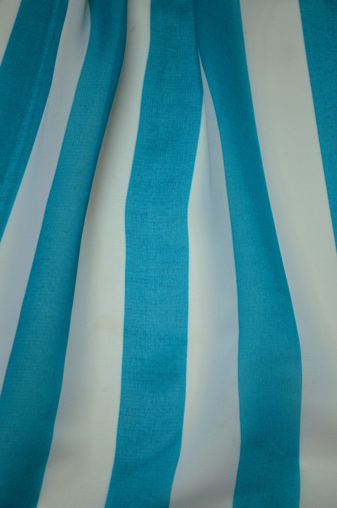 "STP/HI-CHS 1"" / AQUA/WHITE / 100% Poly Hi-Multi Chiffon Medium Stripe Print"