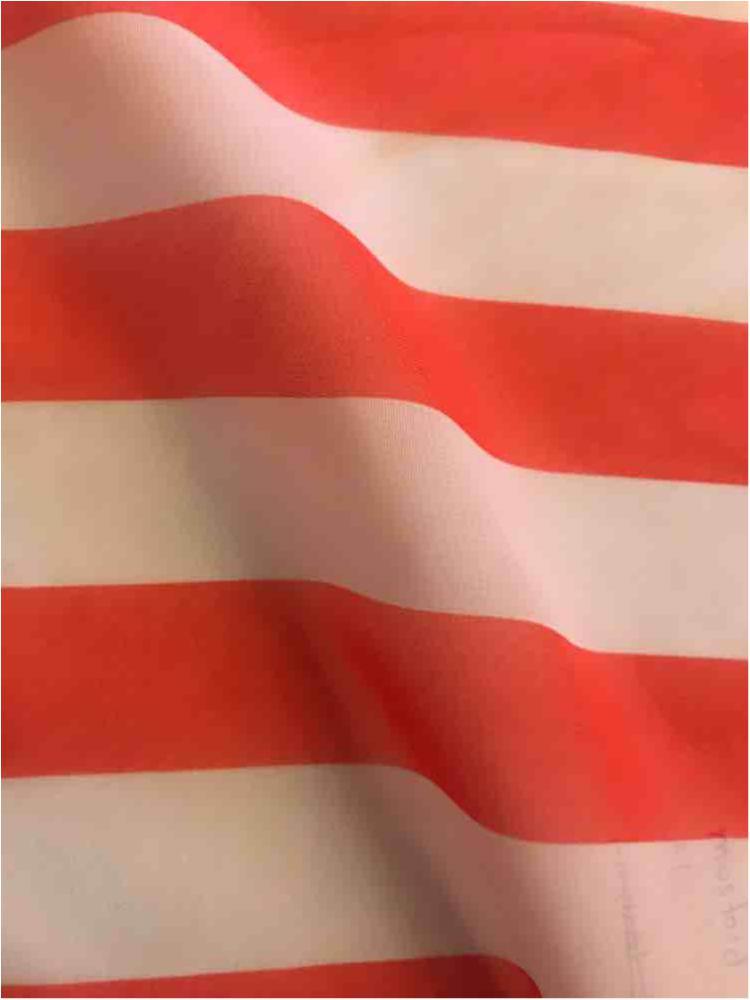 "STP/HI-CHS 1"" / CORAL/WHITE / 100% Poly Hi-Multi Chiffon Medium Stripe Print"