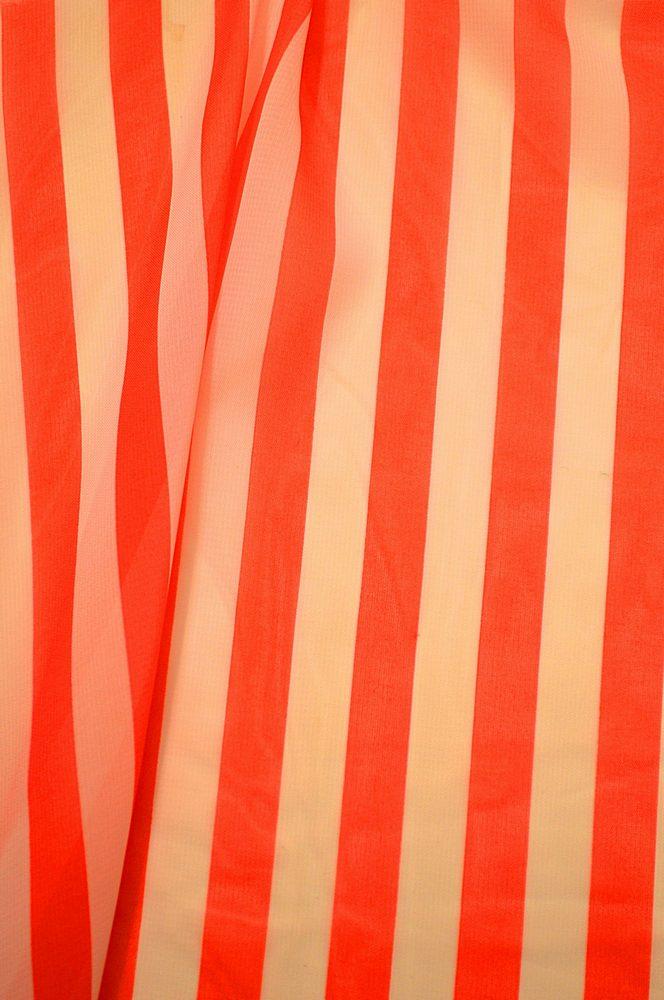 <h2>STP/HI-CHS 1/2&quot;</h2> / CORAL/WHITE                 / 100% Poly Hi-Multi Chiffon Small Stripe Print
