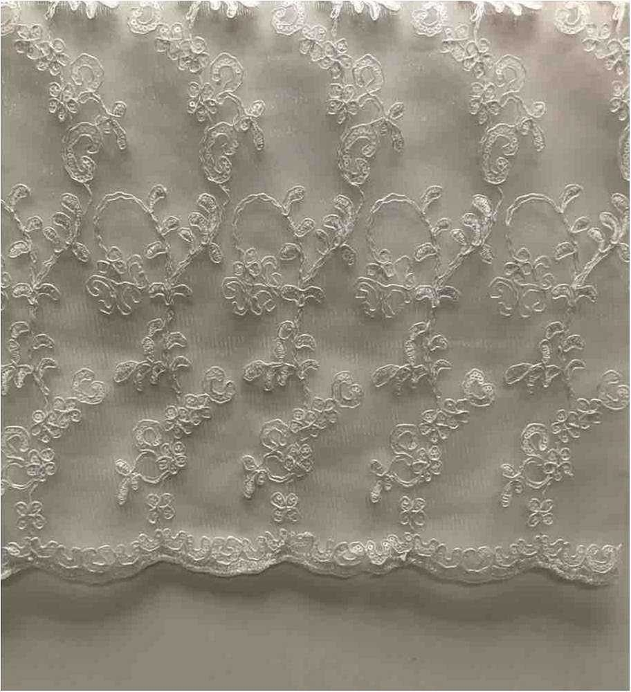LACE EMB SEQUIN / WHITE/SILVER / 100% Polyester Mesh Embroidery With Sequins