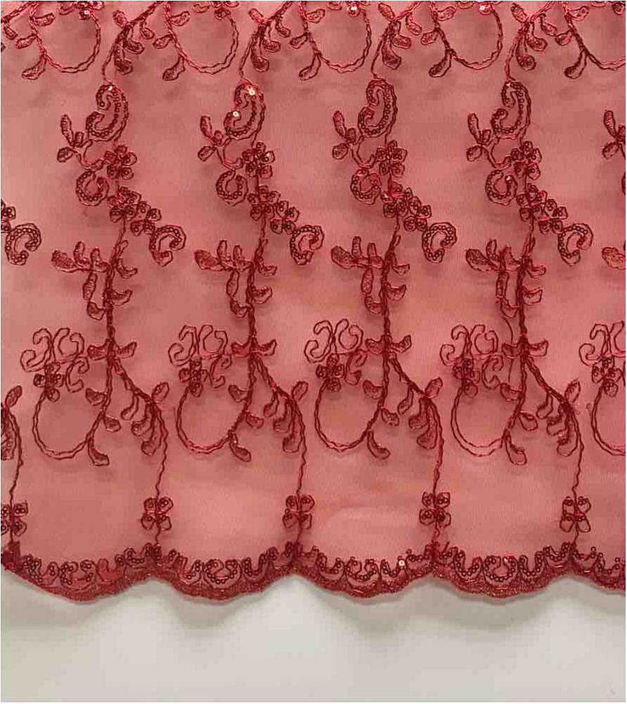 LACE EMB SEQUIN / RED / 100% Polyester Mesh Embroidery With Sequins