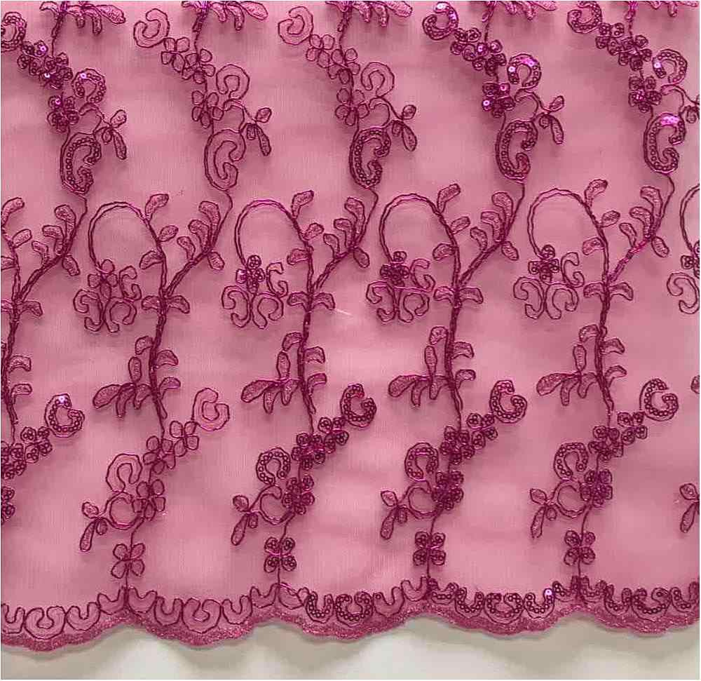 LACE EMB SEQUIN / FUSCHIA / 100% Polyester Mesh Embroidery With Sequins