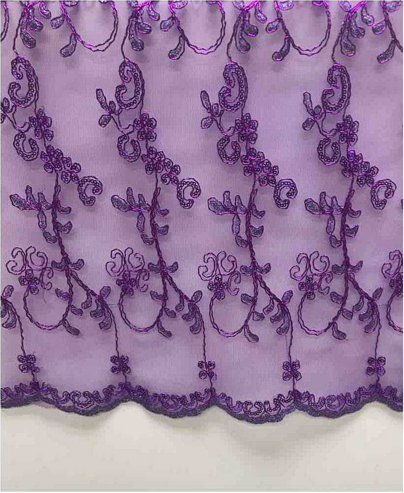 LACE EMB SEQUIN / PURPLE / 100% Polyester Mesh Embroidery With Sequins