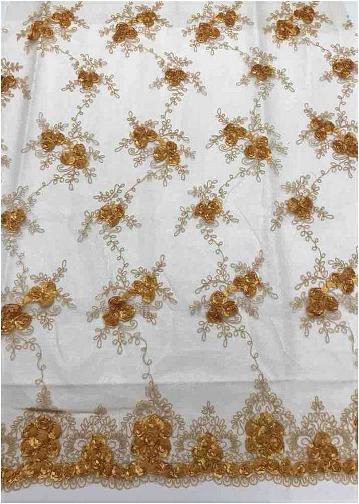 EMB MESH 025 / GOLD DARK 04 / 100% Polyester Shiny Mesh With Small Roses/W Scall