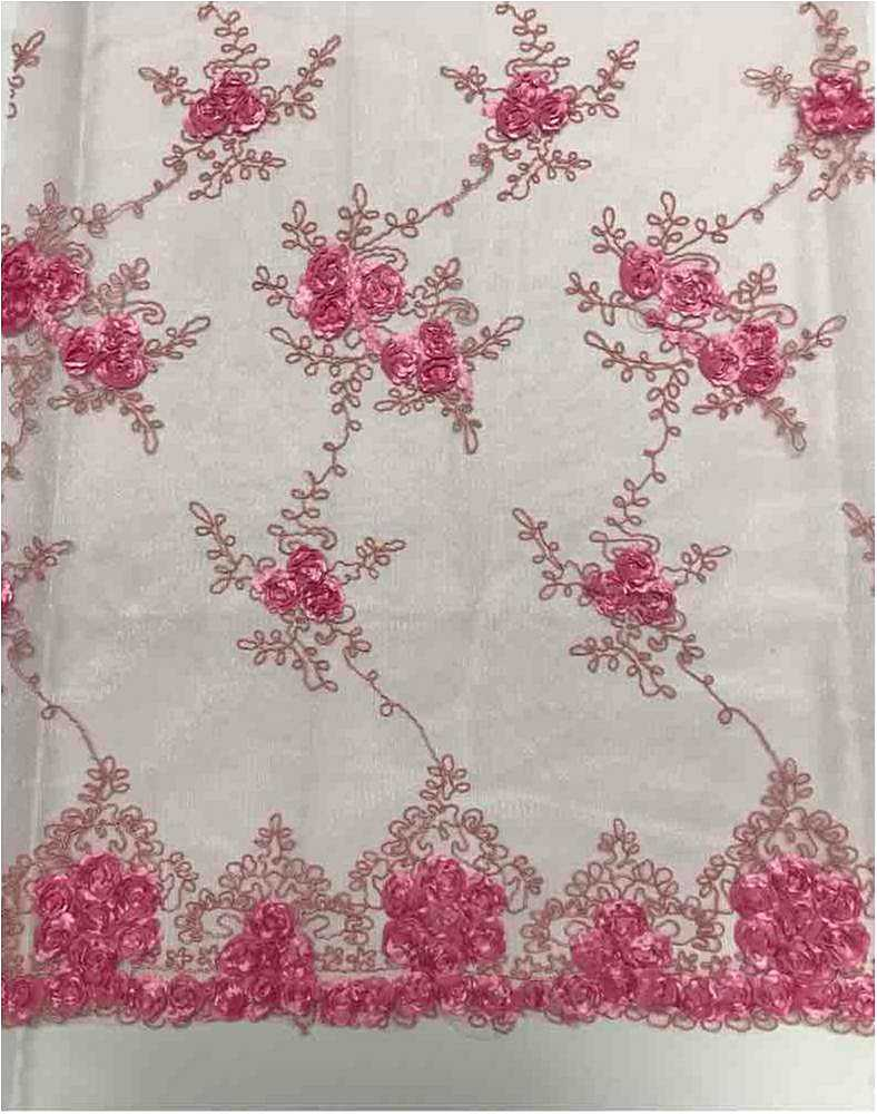 EMB MESH 025 / DUSTY ROSE / 100% Polyester Shiny Mesh With Small Roses/W Scall