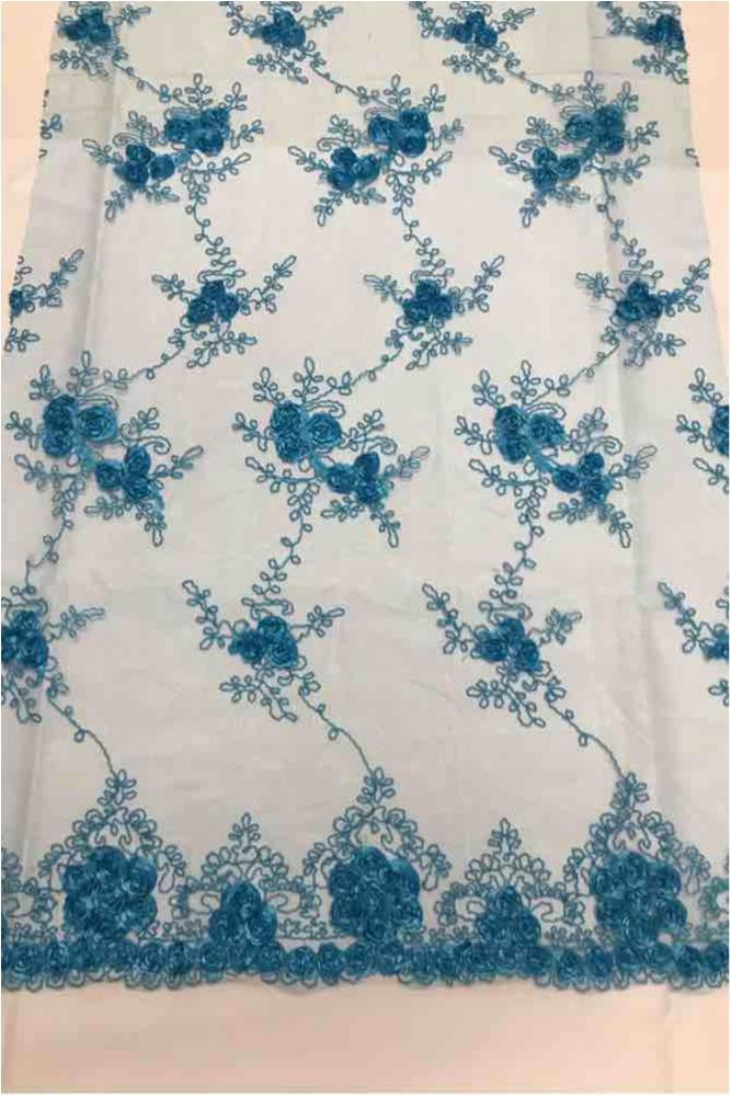 EMB MESH 025 / TURQUOISE / 100% Polyester Shiny Mesh With Small Roses/W Scall