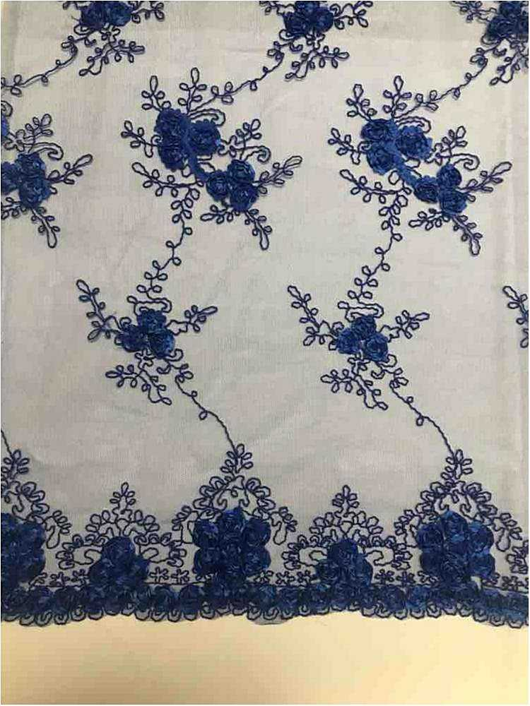 EMB MESH 025 / ROYAL / 100% Polyester Shiny Mesh With Small Roses/W Scall