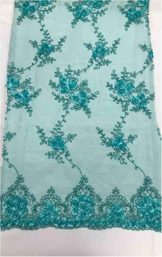 EMB MESH 025 / JADE / 100% Polyester Shiny Mesh With Small Roses/W Scall