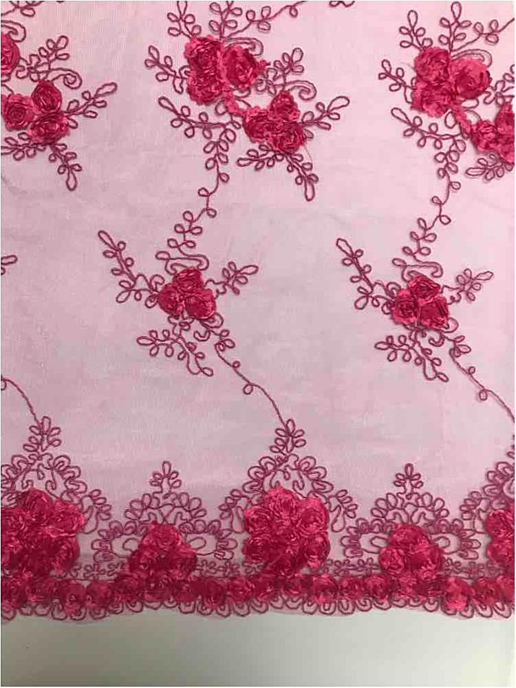 EMB MESH 025 / FUCHSIA / 100% Polyester Shiny Mesh With Small Roses/W Scall