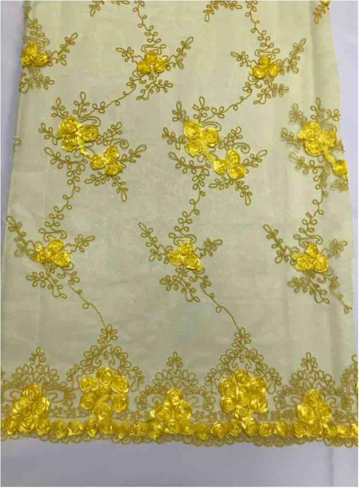 EMB MESH 025 / YELLOW / 100% Polyester Shiny Mesh With Small Roses/W Scall