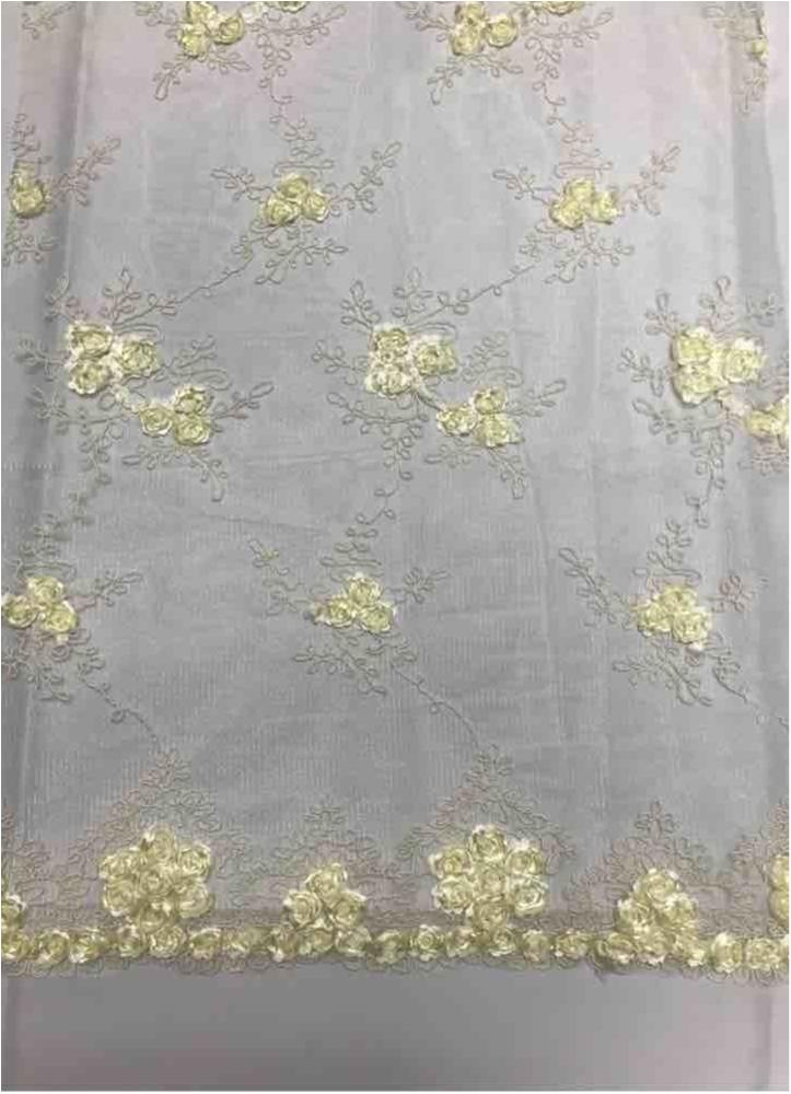 EMB MESH 025 / IVORY / 100% Polyester Shiny Mesh With Small Roses/W Scall