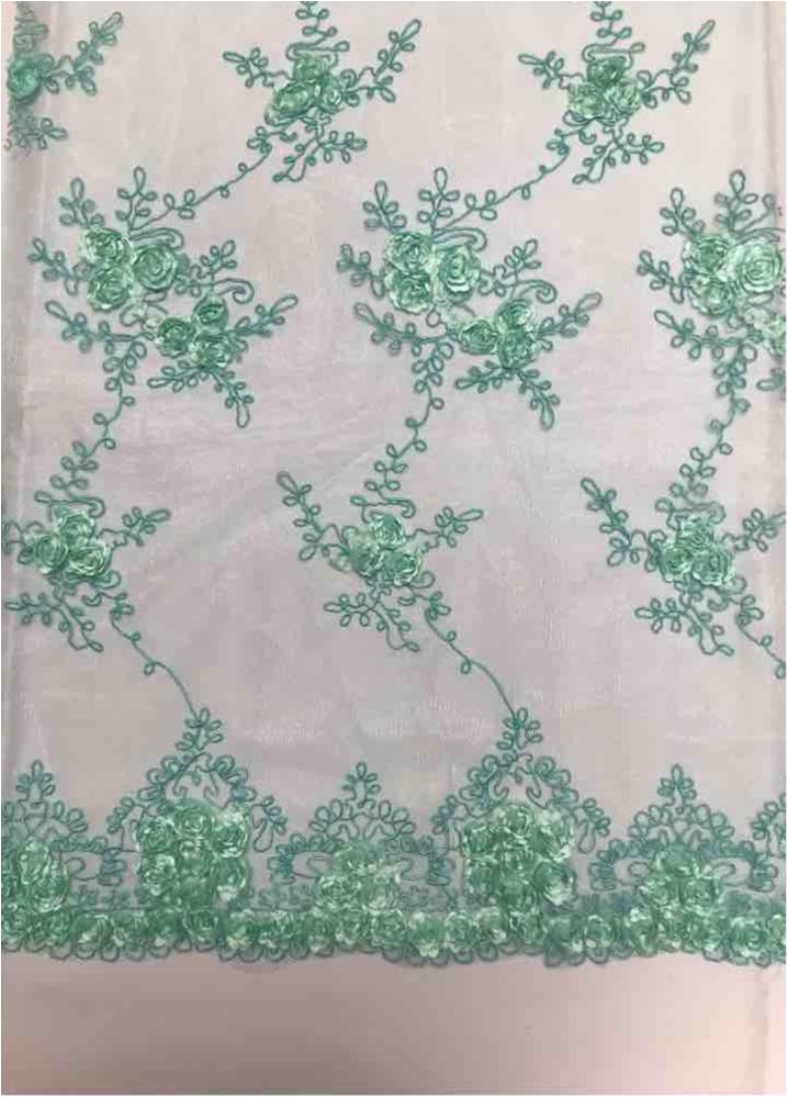 EMB MESH 025 / MINT / 100% Polyester Shiny Mesh With Small Roses/W Scall